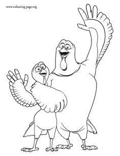 How about coloring this awesome picture of the friends Jake and Reggie? They are characters in Free Birds movie. Have fun!