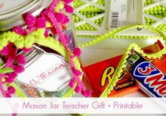 "DIY Thank You Teacher Gift - ""You're A-Mason!""  Free Printable"