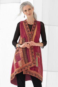 Silk Ralli Wrap Vest by Mieko Mintz (Silk & Cotton Vest) Diy Clothing, Clothing Patterns, Dress Patterns, Clothes Crafts, Sewing Clothes, Cotton Vest, Sari Fabric, Patch, Simple Outfits