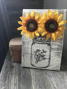 Sunflower mason jar pallet signs