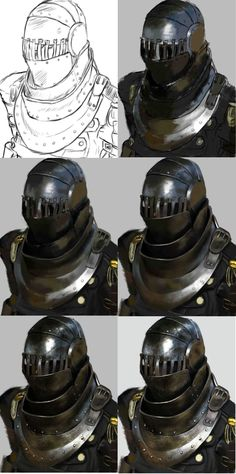 ArtStation - Metallic Helmet Study (and my painting process) , Daphne Gragera