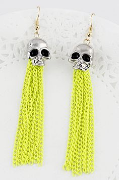 Yellow Chain Tassel Skull Dangle Earrings US$7.01