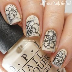 The Digit-al Dozen Does Florals: Day One, Graphite Flowersby Will Paint Nails for Food
