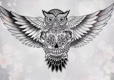 #Owl #Sugarskull #tattoo