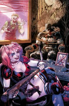 Harley Quinn is the lover of the Joker and she often does he's job for him. She catches Batman to please the Joker because she is in love with him. She actually catches Batman more than the Joker. Catwoman, Batgirl, Comics Anime, Comic Manga, Comic Art, Manga Anime, The Darkness, Archie Comics, Comic Book Characters