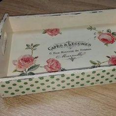 Decoupage roses shabby chick tray