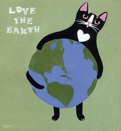 Earth Day Cats Original Folk Art Painting by KilkennycatArt