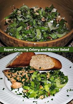 Super Crunchy Celery and Walnut Salad goes with any protein you put on your plate as a colorful and healthy side dish.