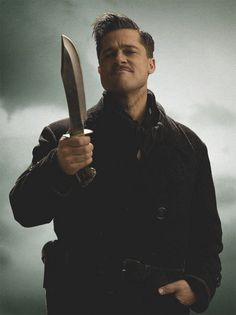 Brad Pitt in Inglourious Basterds Hans Landa, Brad Pitt, Christoph Waltz, Quentin Tarantino, Best Tarantino Movies, Movie Shots, Movie Tv, A Saucerful Of Secrets, Inglorious Bastards