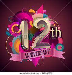 12th years anniversary wreath ribbon logo, geometric background - stock vector