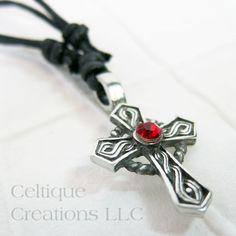 Celtic Cross Fine Pewter Adjustable Necklace with Red Rhinestone #celtic #celticcross #celticnecklace #celticjewelry #celtiquecreations