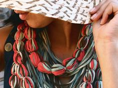 Scarf-Like Fabric Necklaces by Saako Jewelry Textile Texture, Fabric Necklace, Collars, Product Launch, Textiles, My Style, Hair Styles, Recycled Fabric, T Shirt