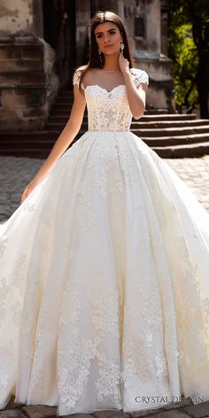 crystal design bridal 2016 cap sleeves sheer bateau sweetheart neckline heavily embellished corset bodice princess a line ball gown wedding dress illusion back royal train (ermesso) zfv