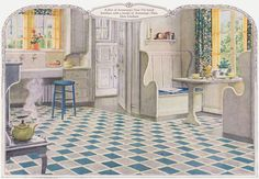 """1924 Armstrong Kitchen. This kitchen is a good example of the """"sanitary"""" kitchen desired by early 1920s homemakers. The floor is Armstrong linoleum. The nook was         one of the essential features of the well appointed kitchen."""