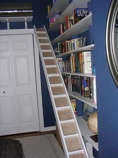 My idea- take wood ladder cover one side with solid backing, carpet between rungs