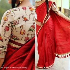 Buy Red Saree with Digital Printed Blouse at Rs. 1049- Get latest Casual Printed Sarees for womens at Peachmode. Genuine Products, Easy Returns, Best Pricing
