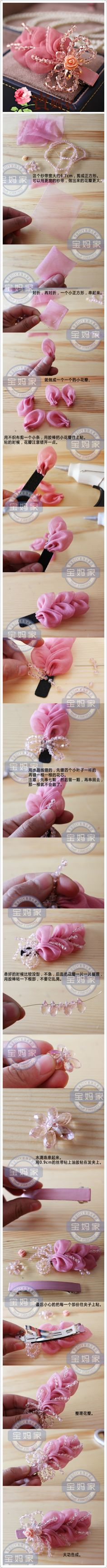 Discover thousands of images about Illona Jackman-Moore Diy Ribbon Flowers, Kanzashi Flowers, Ribbon Art, Fabric Ribbon, Ribbon Crafts, Felt Flowers, Flower Crafts, Ribbon Bows, Fabric Flowers