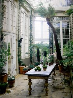 The Engligh country conservatory at Ven House, in Somerset, owned by British fashion designer,Jasper Conran, as featured in The World of Interiors. More about Ven House, here.