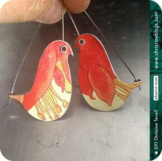 Red Birds on a Wire Dangle Earrings by Christine Terrrell for adaptive reuse on Etsy| Recycled Jewelry | Tin Anniversary | 10th Anniversary | Designer Jewelry | Tin Jewelry | Tin Earrings by christineterrell on Etsy