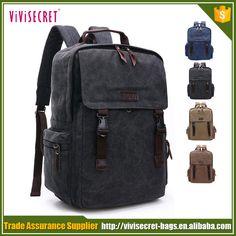 Trade Assurance wholesale vintage canvas bookbags eco-friendly hipster school backpack bag black #Bookbags, #hipster