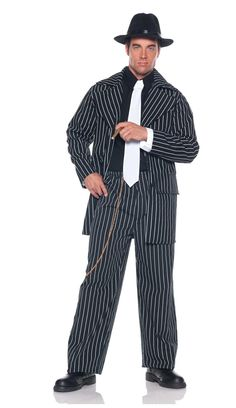 Gangster Pinstripe Zoot Suit Costume One Size Fits Most