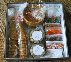 DIY ice cream sundae kits (housewarming, new neighbor, teacher, get well gift)