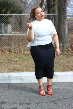 Ivory split back blouse. Black midi pencil skirt. Zara red and orange strappy heels. Plus size fashion blogger.