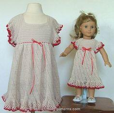 ABC Knitting Patterns - American Girl Doll Summer Raglan Dress