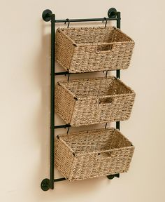 These Hanging Seagrass Wall Baskets give you extra storage space without getting in the way. Available in 3 different styles, they Wall Basket Storage, Baskets On Wall, Kitchen Baskets, Shelves With Baskets, Baskets For Storage, Kitchen Wall Storage, Bathroom Baskets, Metal Wall Basket, Bathroom Ideas