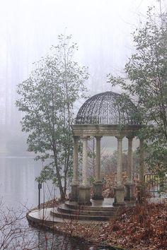 Winter lake gazebo
