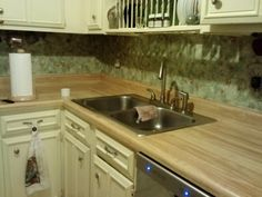 Countertops in need of a new finish!  Before