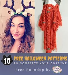 10 free crochet Halloween accessory patterns to complete your costume! Halloween Crochet Patterns, Halloween Accessories, Crochet Accessories, Free Crochet, Free Pattern, Halloween Costumes, Knitting, Celebrities, Hair Styles