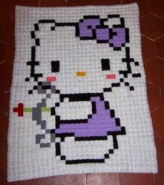Crochet For Children: Pixel Hello Kitty Blanket - Free Pattern
