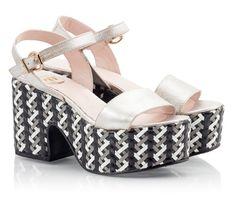 Ras Shimmer vitello leather chunky heel and platform sandals ...