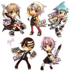 These are adorable, but Kid isn't holding his guns the right way XD
