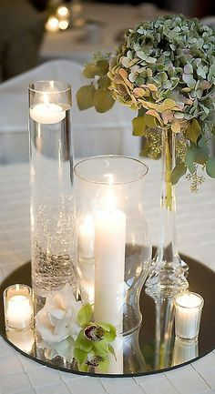 simple and elegant mirrored centerpiece mix and match with hydrangeas and lilies / http://www.himisspuff.com/mirror-wedding-ideas/4/