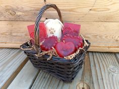 Soap Gift Basket Rose Luv Organic Handmade Glycerin Soap 003    This is a one-of-a-kind wicker gift basket with 2x4 oz bars, 2x3.5oz heart,