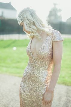 Art Deco & Old Hollywood Glamour Bridal Accessories by Gibson Bespoke - Stunning Art Deco Inspired Bridal Accessories By Gibson Bespoke, Annie DiMaria look look. Gatsby, Bridal Dresses, Bridesmaid Dresses, Bridesmaids, Prom Dresses, Classic Wedding Gowns, Glitter Wedding, Sequin Wedding, Bling Wedding