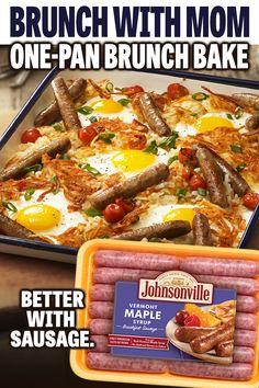 Breakfast Sausage Recipes, Breakfast Dishes, Eat Breakfast, Brunch Recipes, Cheap Family Meals, Brunch Buffet, Brunches, Quick Meals, Sheet Pan