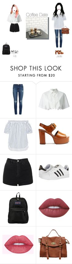 """""""98 Line Coffee Date - Lily&Jade"""" by official-pinksugar ❤ liked on Polyvore featuring Frame, Kenzo, MICHAEL Michael Kors, See by Chloé, Topshop, adidas, JanSport, Lime Crime and Rubi Shoes"""