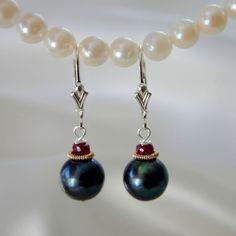 Schwarze Perlen Rubin Ohrringe Freshwater Pearl With Ruby Earrings