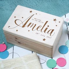 I've just found Personalised Wooden New Baby Keepsake Box. A gorgeous, personalised wooden new baby box. Wooden Memory Box, Wooden Keepsake Box, Wooden Boxes, Wooden Box Crafts, Baby Memory Boxes, Baby Keepsake Boxes, Wooden Gifts, Memories Box, Baby Memories