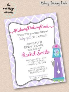 Hickory Dickory Dock Nursery Rhyme Baby Shower Invitation (girl or boy available!) by the mint design company, $15.00 www.themintdesigncompany.com