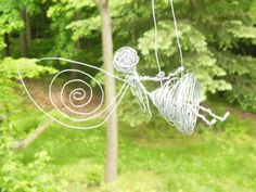Magical Swinging Fairy Made of Wire by FaerieFiveAndDime on Etsy, $15.00