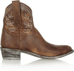 Mexicana Polo embroidered distressed leather ankle boots on shopstyle.co.uk