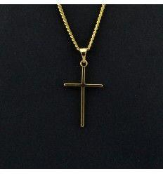 """Smukt smalt kors """"guld"""" vedhæng - 919310"""