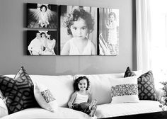 Beautiful black and white grouping above the white couch. Big Wall Art, Photo Wall Art, Photo Walls, Gallery Wall Frames, Frames On Wall, Photo Displays, Display Photos, Display Ideas, Photo Frame Layout