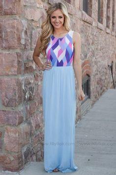 Kaleidoscope Dreams Maxi Dress in Blue