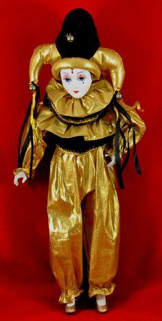 "JESTER CLOWN Wind-up Moving Musical 18"" PORCELAIN DOLL Gold Black MINT | eBay"