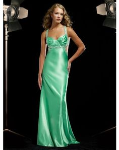 Column Straps Beading Sleeveless Floor-length Elastic Woven Satin Prom Dresses